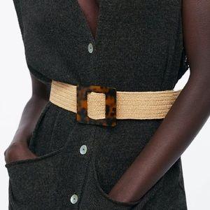 Zara Stretch Belt with Faux Tortoiseshell Buckle
